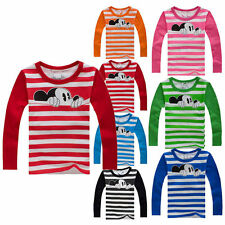 Kids Baby Boys Girls Mickey Mouse Long Sleeve T-shirt Top Blouse Striped Clothes