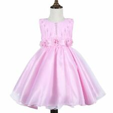 Flower Girl Pearl Tulle Tutu Dress Wedding Bridesmaid Communion Party Prom Pink