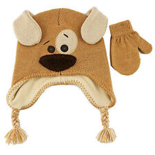 Koala Kids Boys Tan Puppy Face Winter Hat with Matching Mit - Infant/Toddler