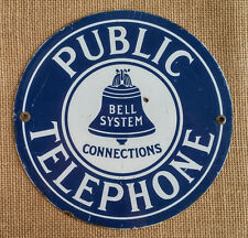 Vintage Porcelain BELL SYSTEM Telephone Sign -  Collectable Pay Phone Marker