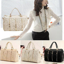 Fashion Vintage Women PU Leather Messenger Bag Tote Shoulder Bag Lace Handbag E#