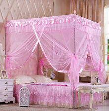 New Princess Pink Four Corner Post Bed Canopy Mosquito Netting Or Frame Post