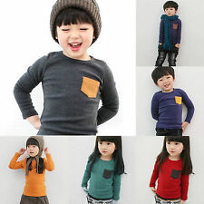 Soft Cotton Toddler Shirts Boys Girls Kids Long Sleeve T-shirt Jumper Tops 1-6Y