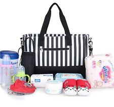 Multifunction Striped Baby Diaper Nappy Changing Bag Expectant Mummy Handbag