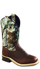 Old West Camo Childrens Boys Carona Calf Leather Square Toe Cowboy Boots