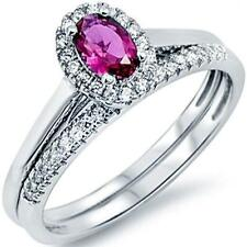 New 925 Sterling Silver Oval Red Ruby Clear CZ All sizes available Size 9 Ring