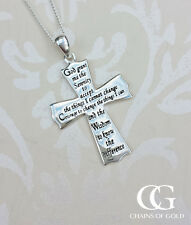 "Personalised Sterling Silver Serenity Prayer Cross Necklace 18"" 20"""