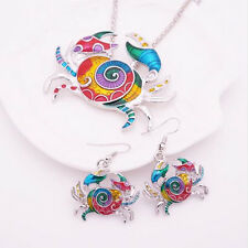 Crab 1 sets Jewelry Sets Gift Necklace Colorful Earring Silver Plated 2016