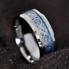 8mm Mens Tungsten Silver-Dragon Celtic Scroll Inlay Wedding Band Size 6-13