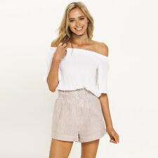 New Mink Pink Striped Paper Bag Shorts in Pink |  Shorts