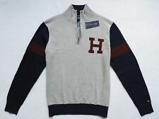 NWT Tommy Hilfiger Men's Half Zip Mock Neck Sweater, Gray, Size: L