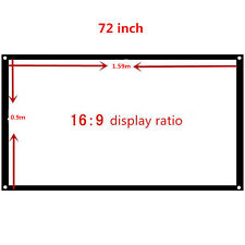 72 inch 16:9 Home theater Movie Projection Screen Projector Matte White