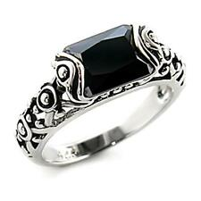 Silver Rhodium Plated Simulated Onyx Ring Black Cubic Zirconia Gothic Size 9 10