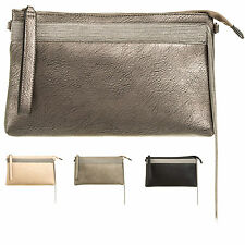 Ladies Stylish Faux Leather Clutch Bag Top Zip Evening Bag Handbag Purse KT612