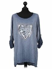 Made In Italy Lagenlook Blue Sequin Heart Top T-Shirt One Size Fit 12-18 UK