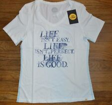 Life is Good Short Sleeve V Neck T-Shirt LIFE ISN'T EASY LIFE IS Authentic Tee