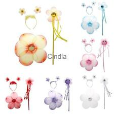 3Pcs Fairy Princess Kids Halloween Costume Girls Flower Wings Wand Headband Sets