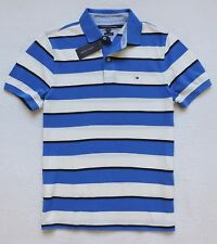 NWT Tommy Hilfiger Mens Custom Fit Short Sleeve Striped Polo, Blue/White,Size: M