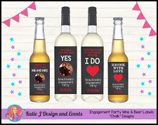 ** ENGAGEMENT PARTY CHALK WINE BOTTLE LABELS GIFTS DECORATIONS **