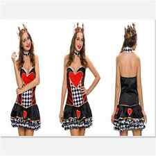 Women Wonder 2pcs New Sexy Queen of Hearts Cosplay Halloween Costume Dress Lady
