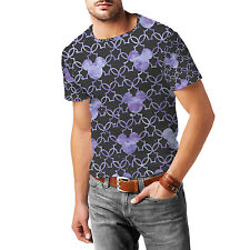 Mickey Mouse Watercolor Lilac Purple Mens Cotton Blend T-Shirt XS-3XL All-Over-P