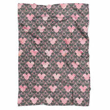 Mickey Mouse Watercolor Pink Fleece Blanket - Soft Faux Fur Throw