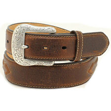 Ariat Mens Brown Western Leather Stitched Concho Belt Silver Buckle