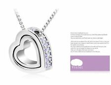 Silver Plated Double Heart Pendant Austria Crystal Rhinestone Necklace Swarovski
