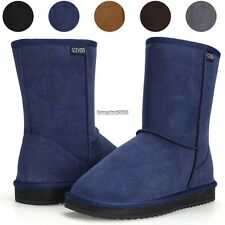New Womens Winter Warm Snow Boots Thicken Faux Fur Suede Ladies Flat Shoes ED