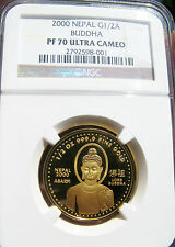 2000 GOLD NEPAL LORD BUDDHA NGC PF70 PERFECT GEM PROOF Coin .9999 PURE 24K RARE!