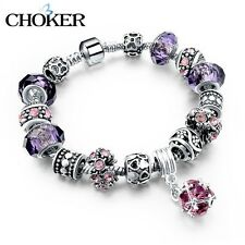 925 Silver Crystal Charm Bracelet Women Purple Murano Glass Beads bangles DIY Je