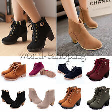 Fashion Womens Suede Martin Boots Lace Up Zip Platform Riding Ankle Bootie Shoes