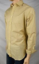 POLO RALPH LAUREN YELLOW BLUE CHECK SPREAD COLLAR CLASSIC FIT DRESS SHIRT NWT