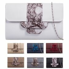 Ladies Faux Leather Clutch Bag Snakeskin Envelope Evening Handbag Purse KZ948
