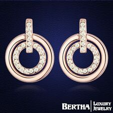 New Trendy Double Circle Stud Earring Jewellery With Genuine Swarovski Elements
