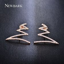NEWBARK Wave Stud Earrings Double W Geometric Design CZ Diamond Earring For Wome