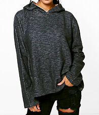 NEW WOMENS LADIES CASUAL GREY CHARCOAL GREY HOODED SPORTS SWING TOP HOODIE SIZE