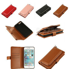 Magnetic Zipper Purse PU Leather Card Slot Wallet Cover Case for iPhone Samsung