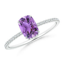 Solitaire Cushion Cut Amethyst Diamond Engagement Ring 14k White Gold / Platinum
