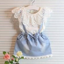 New Kids Baby Girls Outfit Clothes T-shirt Tops+Strap Dress Skirt 2PCS/Sets 1-5Y