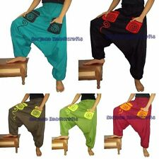Men Women Cotton Harem Pants Yoga Casual Sports Trouser Baggy Genie Hippie Boho