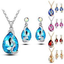 Women Waterdrop Crystal Pendant Inlaid Necklace Earrings Jewelry Set Precise