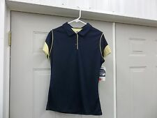 RUSSELL ATHLETIC TEAM ISSUE ADULT SPORTS POLO SHIRT NAVY BLUE GOLD SIZE M L NEW