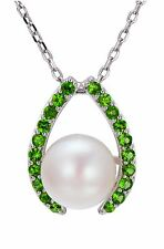 """Freshwater Pearl 10mm & Chrome Diopside Pendant 925 Sterling Silver Necklace 18"""""""