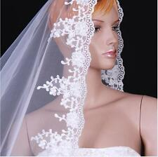 New 1T White ivory Wedding Bridal Veil 2M Long length Lace Edge without comb