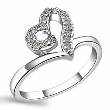 Romantic Love Heart AAA CZ 925 Sterling Silver Engagement Ring Size 7 8 9 J332