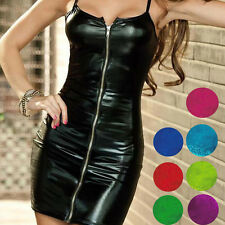 Sexy Hot Faux Leather Front Clubwear Mini Dress Wet Look Zip Skirt