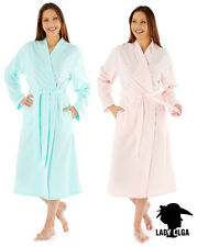 LADIES EMBROIDERED WARM FLEECE LONG SLEEVE DRESSING GOWN ROBE WRAP  PINK AQUA