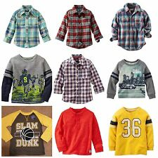 NWT Boys Long Sleeve Flannel Plaid Graphic Shirts 4-7X Oshkosh Carters Arizona