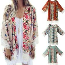 Women Vintage Floral Loose Shawl Kimono Cardigan Boho Tops Jacket Blouse Outwear